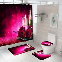 Rose Bathroom Rug Set Shower Curtain Non Slip Toilet Lid Cover Bath Mat