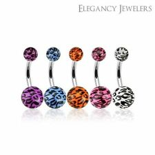 316L Surgical Steel Belly Ring W/ Leopard Print Acrylic Balls (Multiple Colors)