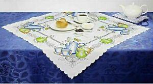 elegante Mitteldecke Kaffeezeit 85 x 85 cm Tischdecke Küchentisch Esstisch Decke