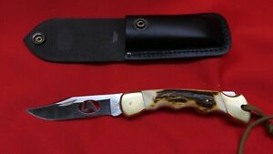 Custom Stag Fully Finger Grooved Stag BUCK 110 made USA Laser cut  BLADE