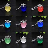 Fashion Women Girl Cute Crystal Apple Pendant Choker Necklace Chain Jewelry Gift