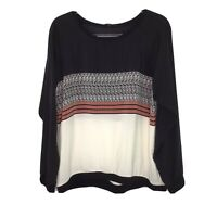 Tibi Mohave Sweatshirt Silk Blouse Large Black White Coral
