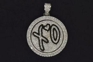 HipHop 14K White Plated XO Heart Rap Iced Flashy Spinner Pendant with Rope Chain