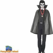 Vampire Cape Black Collar Halloween PVC Mens Adults Fancy Dress Accessory