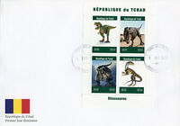 Chad 2019 FDC Dinosaurs T-Rex 4v M/S Cover Dinosaures Prehistoric Animals Stamps