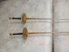 Pair of Spanish decorative? fencing foils set. 1950s ornate guards, pommels ...