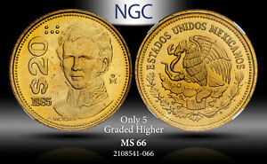 1985-Mo MEXICO 20 PESOS NGC MS66 ONLY 5 GRADED HIGHER