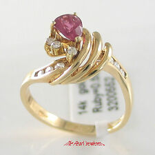 14k Yellow Gold Genuine Diamonds, Pear Red Ruby Prong & Channel Setting Ring TPJ