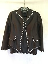 B LOUISE COUTURE 2-PIECE SILK SKIRT SUIT WITH TRIM-BLACK/WHITE-SIZE 4-STUNNING!!