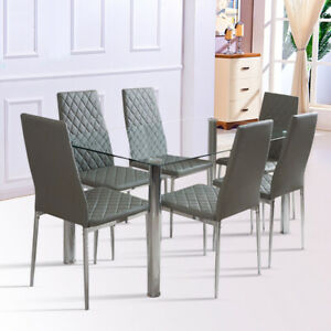 Rectangle CLEAR Glass Dining Table And Diamond Padded Seat Chairs Set 4-6 Seater