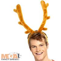 Reindeer Stag Horns Headband Adults Fancy Dress Christmas Animal Costume Acc