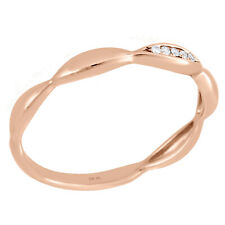 Right Hand Promise Ring 0.02 Ct. 10K Rose Gold Pave Diamond Contour Stackable