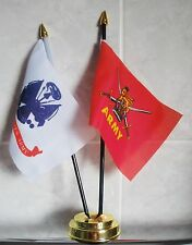BRITISH ARMY & US ARMY TABLE FLAG SET 2 flags plus GOLDEN BASE USA AMERICA