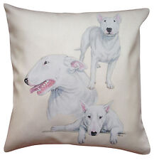 Bull Terrier White Group Breed of Dog Cotton Cushion Cover - Perfect Gift