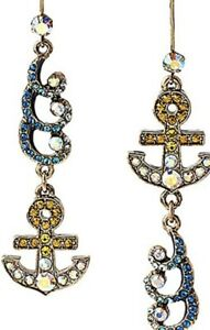 $40 Betsey Johnson Jewelry Ship Shape Anchor Waves Drop Earrings BK4