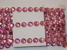 pink 16mm Jewel Sequin Indian wedding  cake dance costume ribbon mesh rhinestone