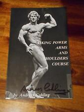 """ANDREAS CAHLING """"Arms and Shoulders"""" bodybuilding ORIGINAL Signed booklet 1978"""