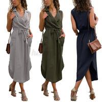 ZANZEA UK Womens Summer Sleeveless Midi Shirt Dress OL Work Casual Warp Dresses