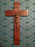 French 1920's Art Deco Crucifix-Cross- Solid wood-great design-good condition