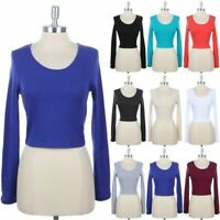 Women's Long Sleeve Cropped Top Solid Round Neck Cotton Stretch S M L