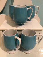 Vintage Teal/Light Blue Pedestal Coffee Mugs Made In Japan