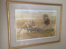Robert BATEMAN Dispute Over Prey Signed Ed 754/950 African Lion & Lioness Framed