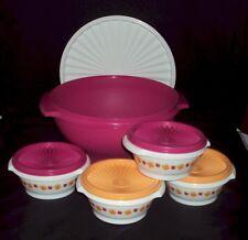 New Tupperware Servalier Bowls Set 5 Serving Nesting Bowls Flowers Pink Orange