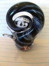 Crystal hand blown art glass Snail Blue Swrill Glass Paper Weight Vintage