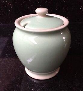 Vintage 1930/40s Lovatts Langley Green Stoneware Lidded Sugar Bowl