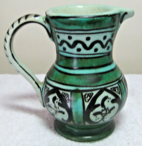 """Vintage 5"""" Paterna Pottery Pitcher Green Black Geometric Design Made in Spain"""