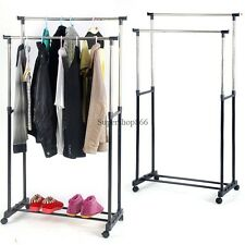 Portable Rolling Double Adjustable Clothes Tidy Hanger  Rail Rack On Wheels