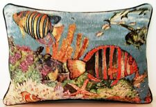 Tropical Fish w/ Dolphins,Turtles, Ocean Life, Bradley Clark Tapestry Pillow New