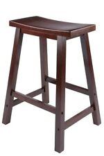"Winsome Wood 94084 14.47"" X 24"" X 17.48"" Walnut Saddle Seat Bar Stool"