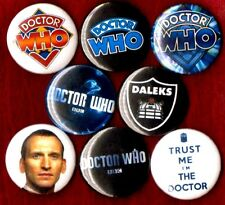 DR WHO 8 NEW 1 inch pins button badge DALEK TARDIS STOCKING STUFFER