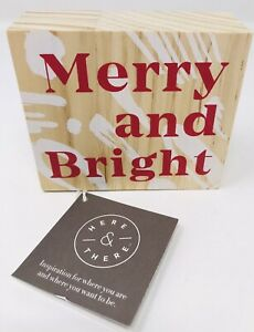 """Christmas """"Merry and Bright"""" Wood Block Plaque 3-1/2"""" x 4"""" Here & There NWT"""