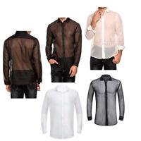 Männer Hemd für Turn-down Kragen Herren Transparent Vintage T-Shirt Mesh Tunika