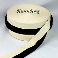 Twill Tape Cotton Herringbone Black White Natural 1/4