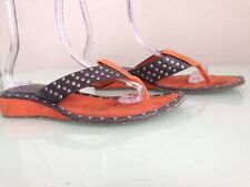George Miu Blue And Orange Leather Studded Thong Sandal Wedge Slides, Size 39