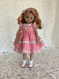 "Dianna Effner 13"" Little Darling Doll Clothes, Handmade Dress Embroidered"