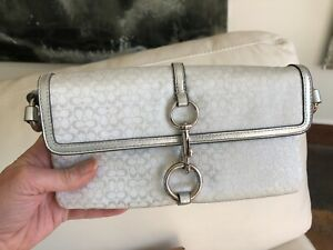 Vintage Signature Series Coach Bag Metallic Silver NWOT Clutch Shoulder Bag