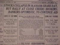 VINTAGE NEWSPAPER HEADLINE ~NEW YORK CITY NY STOCK MARKET WALL STREET CRASH 1929