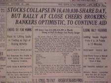 VINTAGE NEWSPAPER HEADLINE ~NEW YORK NY 1929 STOCK MARKET WALL STREET COLLAPSE~