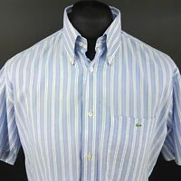 Lacoste Mens Vintage Shirt 42 (XL) Short Sleeve Blue Regular Fit Striped Cotton