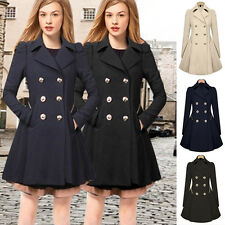 Womens Double Breasted Trench Coat Jacket Slim Lapel Winter Peacoat Dress NEW