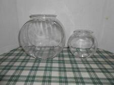 2 Vintage 1960's Clear Glass Goldfish Beta Fish Bowl Aquarium Old Tank 5/1.5 qt