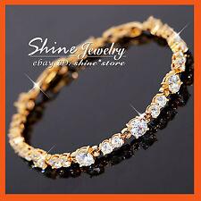 9K Gold FILLED SIMULATED DIAMOND TENNIS ETERNITY BAND SOLID LADY BANGLE BRACELET
