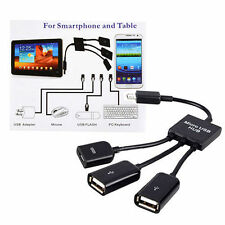 1x New 3 in 1 Male to Female Dual Micro USB Host OTG Converter Hub Adapter Cable