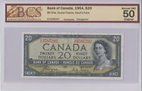 1954 BANK OF CANADA $20 DOLLAR B/E 3585292 DEVILS FACE BCS CERT ALMOST UNC NOTE