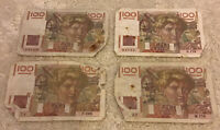 Lot Of 4 X French Banknotes. 100 Francs. Dated 1947. Vintage Set.