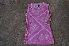 TRUE RELIGION Sexy Scoop T-Shirt S/P NWT$94 Pink Paisley Logo Print-Pima Cotton
